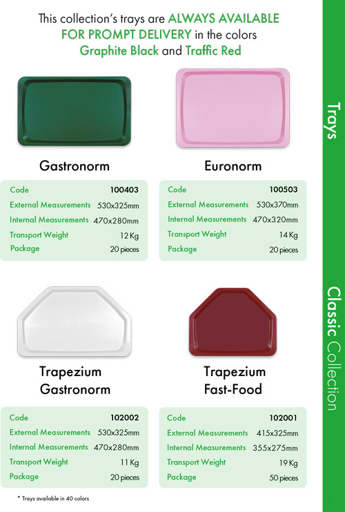 Trays Classic Collection | Sanitærer Plastbakker